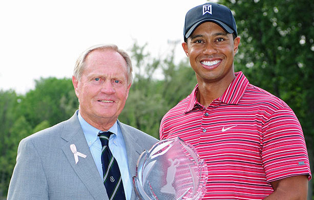 Jack Nicklaus with five-time Memorial Tournament winner Tiger Woods.