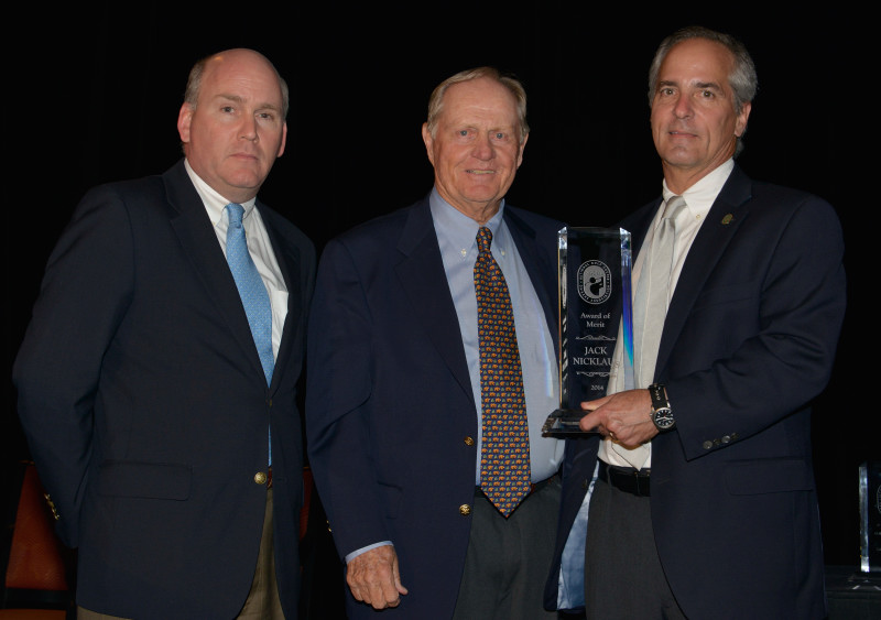 Jack receiving the National Golf Course Owners Association's Award of Merit from NGCOA CEO Mike Hughes (right) and incoming President Matt Galvin.