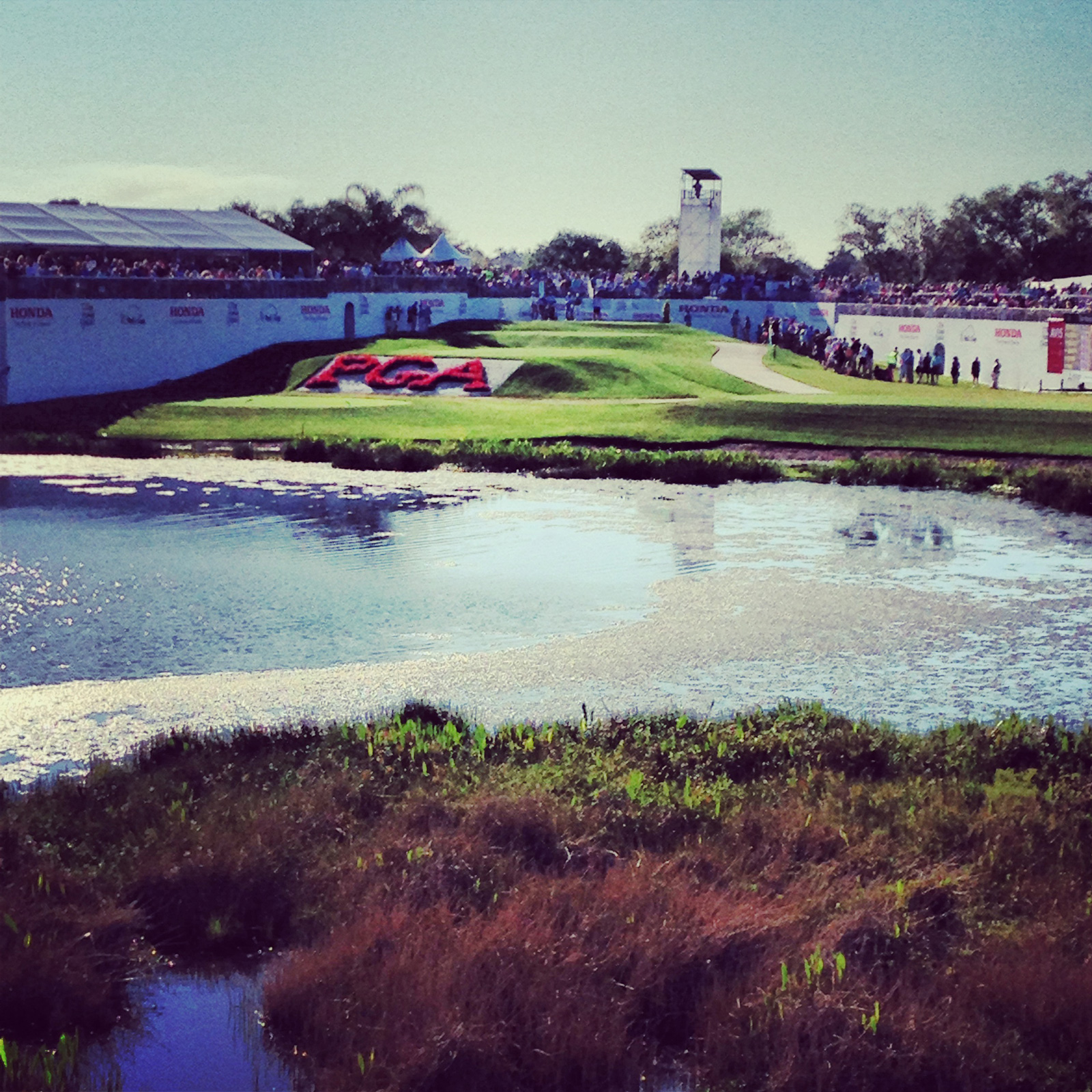 The Bear Trap at The Honda Classic has grown into one of the most popular places for spectators to watch the tournament. Located at the 16th Green, the Bear Trap also provides viewing of both the tee and green of the signature par-3 17th hole at the Jack Nicklaus-redesigned Champion Course at PGA National Resort & Spa.