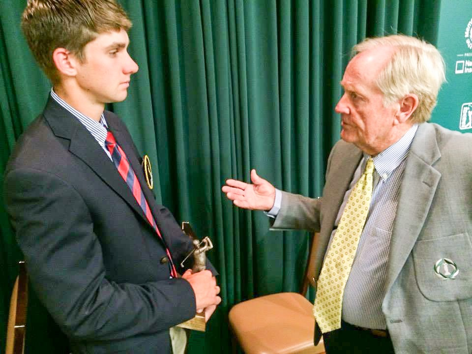 Jack Nicklaus meets with Patrick Rodgers, the former Stanford standout and winner of the 2014 Jack Nicklaus Award as the Division I Collegiate Player of the Year, at last year's Memorial Tournament presented by Nationwide. Rodgers, now playing professionally, will be in next week's Memorial Tournament field.