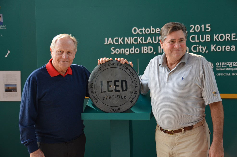 Jack Nicklaus with Jack Nicklaus Golf Club Korea developer Stan Gale
