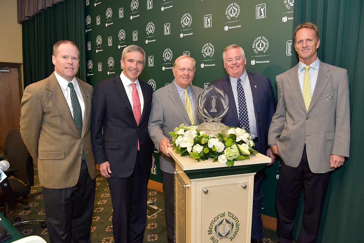 Dan Sullivan, Executive Director, the Memorial Tournament; Jay Monahan, Deputy  Commissioner, PGA TOUR; Jack Nicklaus, Founder of the Memorial Tournament; Steve  Rasmussen, Chief Executive Officer, Nationwide; and Jack Nicklaus II, General Chairman,  the Memorial Tournament.